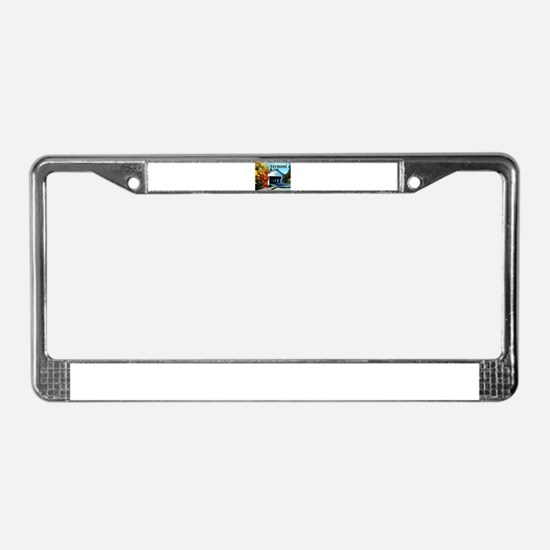White Covered Bridge Colorful License Plate Frame