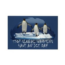 Cute Penguin Anti Global Warming Rectangle Magnet
