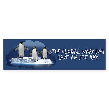 Cute Penguin Anti Global Warming Bumper Sticker