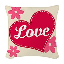 Love heart Woven Throw Pillow