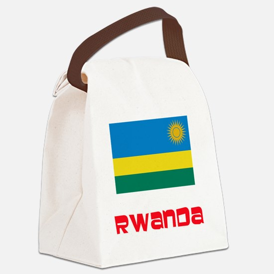 Rwanda Flag Retro Red Design Canvas Lunch Bag