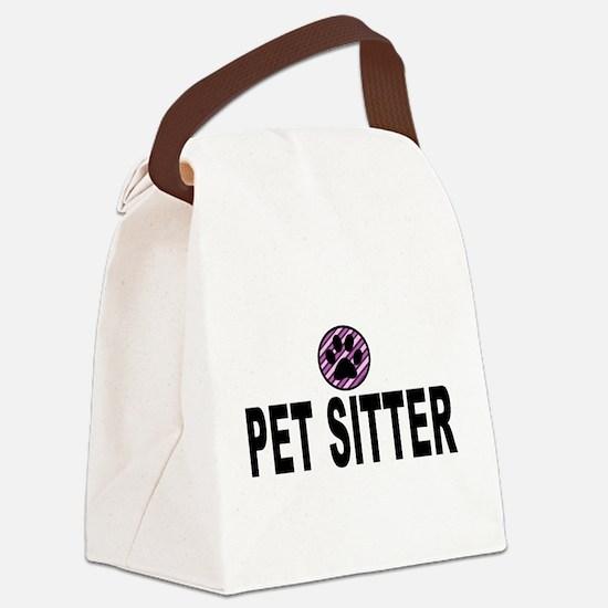 Pet Sitter Purple Circle Paw Canvas Lunch Bag
