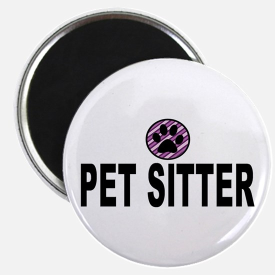 Pet Sitter Purple Circle Paw Magnets