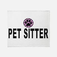 Pet Sitter Purple Circle Paw Throw Blanket