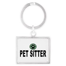 Pet Sitter Green Stripes Landscape Keychains