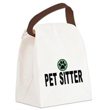 Pet Sitter Green Stripes Canvas Lunch Bag
