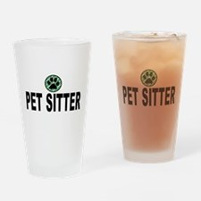 Pet Sitter Green Stripes Drinking Glass