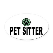 Pet Sitter Green Stripes Oval Car Magnet
