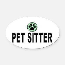 Pet Sitter Green Stripes Oval Car Magnet
