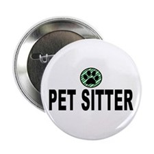 """Pet Sitter Green Stripes 2.25"""" Button"""
