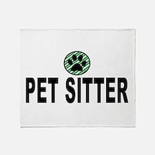Pet Sitter Green Stripes Throw Blanket