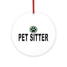 Pet Sitter Green Stripes Ornament (Round)