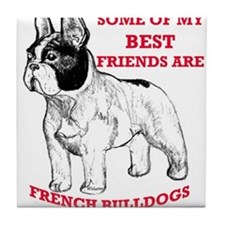 Cute French bull dogs Tile Coaster