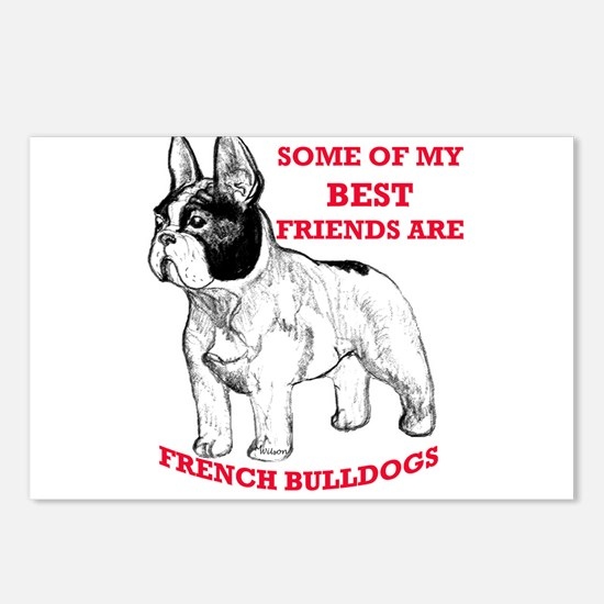 Cute French bull dogs Postcards (Package of 8)