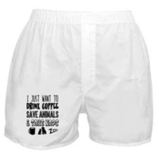 Coffee Animals Naps Boxer Shorts