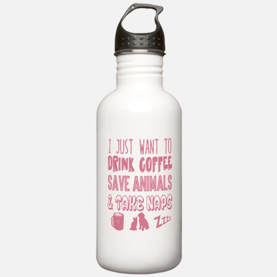 Coffee Animals Naps Water Bottle