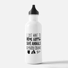 Coffee Animals Naps Water Bottle