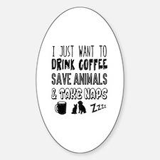 Coffee Animals Naps Decal