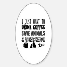 Coffee Animals Naps Sticker (Oval)