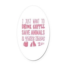 Coffee Animals Naps Oval Car Magnet