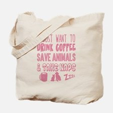 Coffee Animals Naps Tote Bag