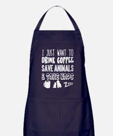 Coffee Animals Naps Apron (dark)
