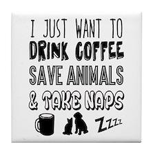 Coffee Animals Naps Tile Coaster