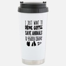 Coffee Animals Naps Stainless Steel Travel Mug