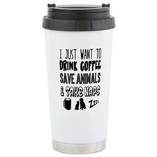 Coffee Animals Naps Travel Coffee Mug