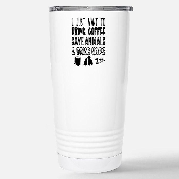 Coffee Animals Naps Travel Mug