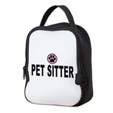 Pet Sitter Pink Circle Paw Neoprene Lunch Bag