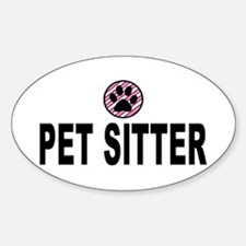 Pet Sitter Pink Stripes Oval Decal