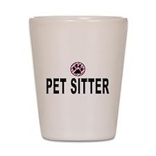 Pet Sitter Pink Circle Paw Shot Glass