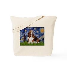 Starry Night Basset Tote Bag