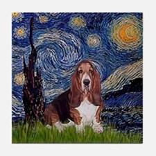 Starry Night Basset Tile Coaster