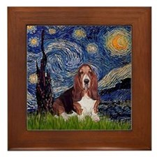 Starry Night Basset Framed Tile