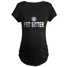 Pet Sitter Blue Circle Paw Maternity T-Shirt