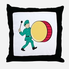 Marching Band Drummer Beating Drum Throw Pillow
