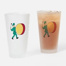 Marching Band Drummer Beating Drum Drinking Glass