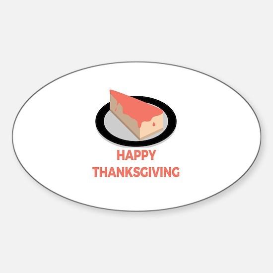 Happy Thanksgiving Day Slice Pie Cake Dark Decal