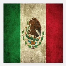"Mexican Flag Square Car Magnet 3"" x 3"""
