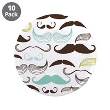 """Blue, Green & Brown Mustache 3.5"""" Button (10 pack)"""