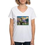 Saint Francis / Beagle Women's V-Neck T-Shirt