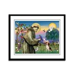 Saint Francis / Beagle Framed Panel Print