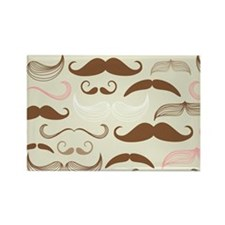 Pink & Brown Mustache Design Magnets