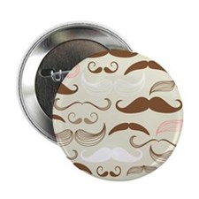 "Pink & Brown Mustache Design 2.25"" Button"