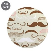 "Pink & Brown Mustache Design 3.5"" Button (10 pack)"