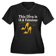 GORGEOUS 16T Women's Plus Size V-Neck Dark T-Shirt