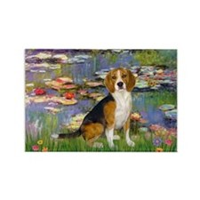 Beagle in Monet's Lilies Rectangle Magnet