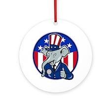 Elephant Republican Round Ornament